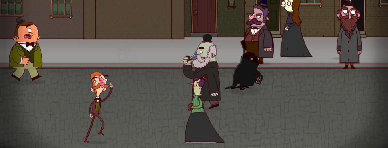 Gavin y Bertram corren tras un hombre que oculta su rostro.