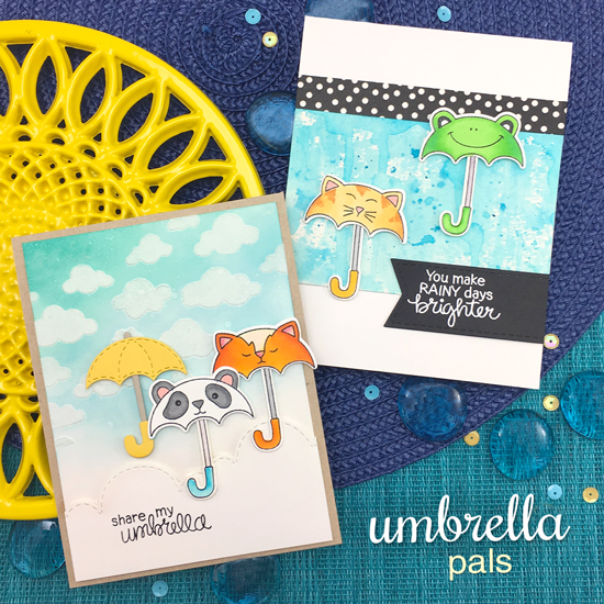 Umbrella Cards by Jennifer Jackson | Umbrella Pals Stamp Set and Cloudy Sky Stencil by Newton's Nook Designs #newtonsnook #handmade
