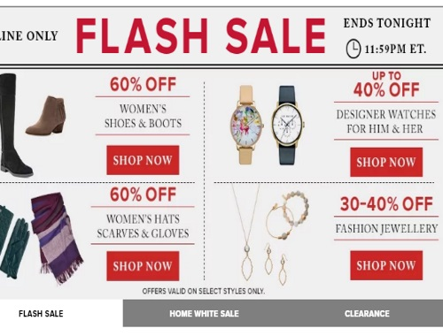 Hudson's Bay Flash Sale 60% Off Women's Shoes/Boots, Hats Scarves ,Gloves and More
