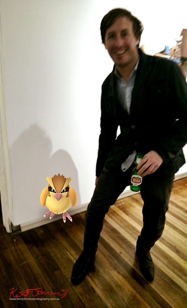 A Pokemon Pidgey crashes and art opening at KUDOS Gallery.