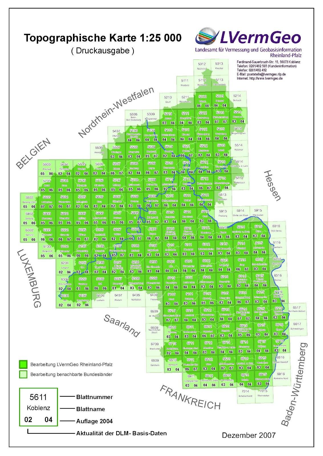 Karte Baden Württemberg Rheinland Pfalz.Verlag Lva Rheinland Pfalz Blattschnitte Index