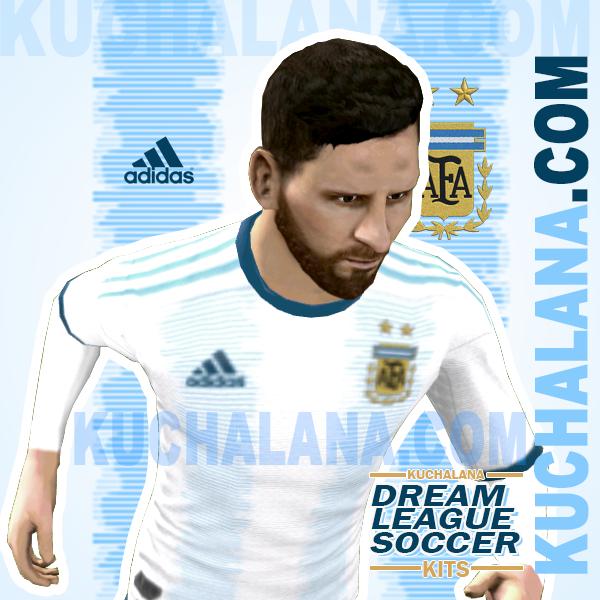 Yang akan saya share kali ini adalah termasuk kedalam home kits Argentina 2019 Kits - Dream League Soccer Kits