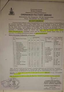 Ordnance Factory Medak Recruitment 2017