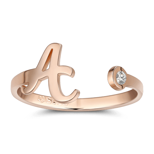 Birthstone Name Ring Rose Gold Plated Silver