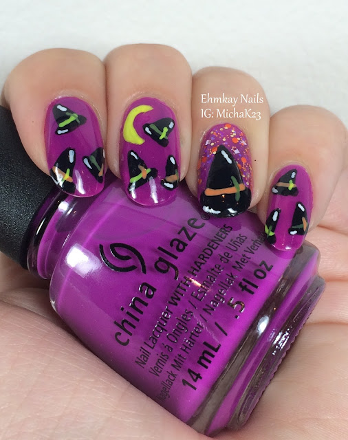 Ehmkay Nails New Year S Eve Nail Art With Kbshimmer Bling: Ehmkay Nails: Witch Hats Halloween Nail Art