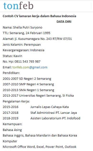 Contoh Cv Lamaran Kerja Terbaru Bahasa Indonesia Dan Bahasa Inggris Berita Tips Status Wa