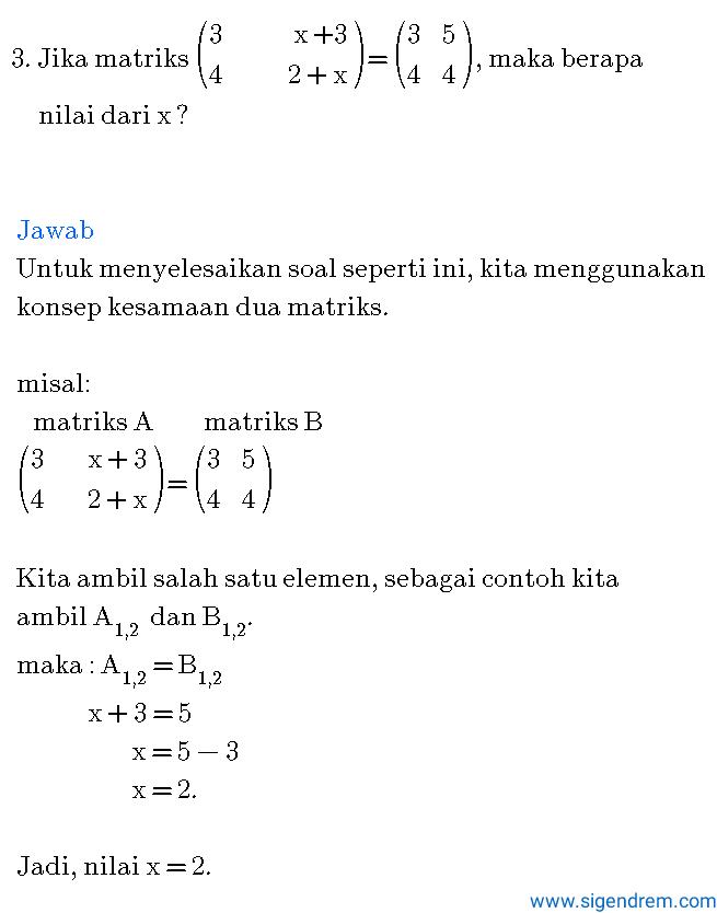 contoh soal dan pembahasan matriks