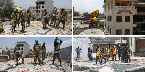 earthquake clean up nepal army sankat mochan