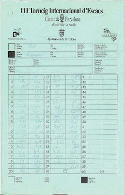 Planilla de la partida de ajedrez Tal-Akopian 1992
