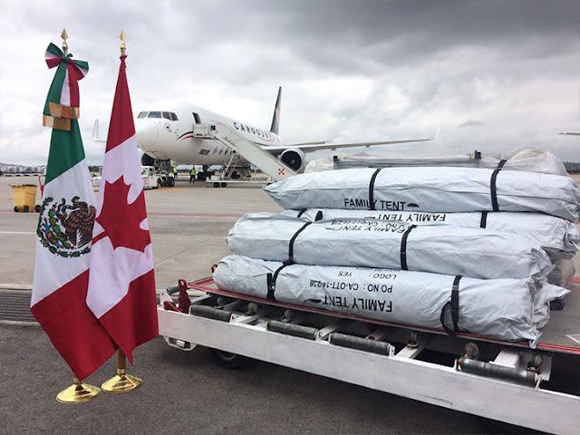Dona Canadá mil 500 tiendas de campaña para damnificados del sismo.