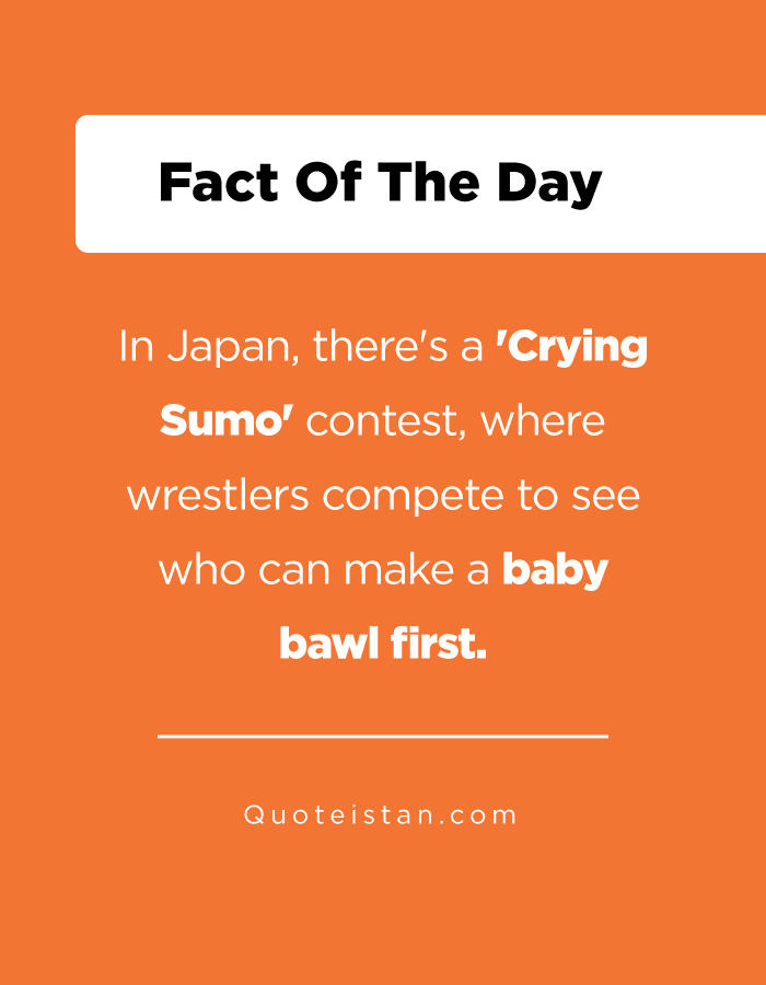 In Japan, there's a 'Crying Sumo' contest, where wrestlers compete to see who can make a baby bawl first.