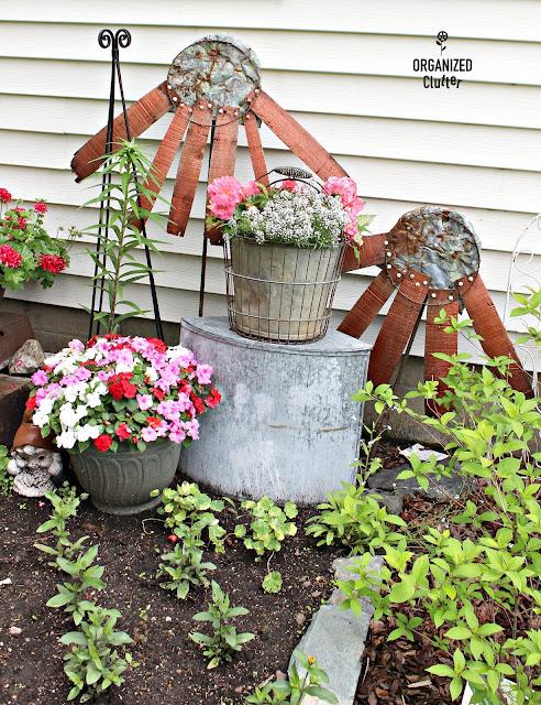 Repurposed Junk Garden Coneflowers organizedclutter.net