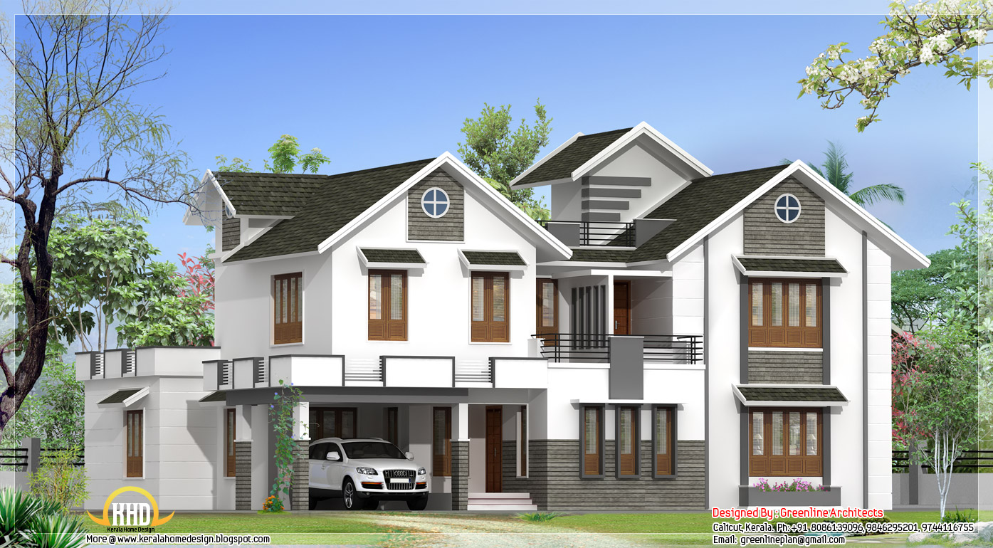 Modern 4 bedroom kerala home elevation kerala home for New kerala house plans with front elevation