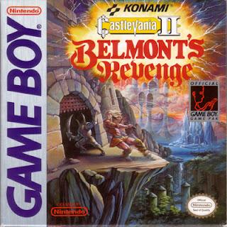 Portada del cartucho de Castlevania II: Belmont's Revenge para la portátil en blanco y negro de Nintendo (GameBoy, 1991)