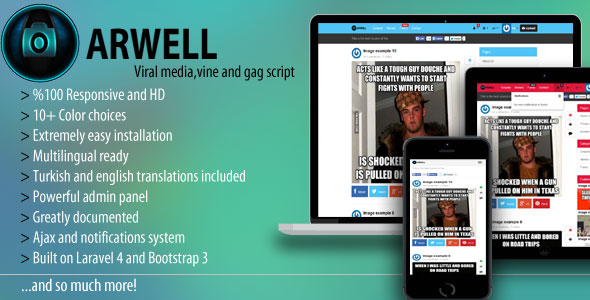 Arwell v1.6.1 – Viral media, vine and gag script - Codecanyon