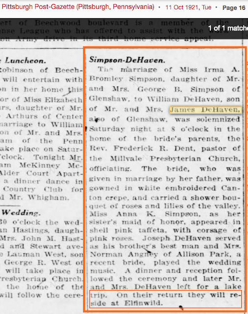 newspaper mention of 1921 marriage of Irma Bromley Simpson to William DeHaven Shaler Twp PA