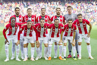ATHLETIC CLUB DE BILBAO - Temporada 2017-18 - Raúl García, De Marcos, Íñigo Martínez, Yeray y Unai Simón; Williams, Dani García, Beñat, Balenziaga, Susaeta y Yuri Berchiche. F. C. BARCELONA 1 (Munir) ATHLETIC CLUB DE BILBAO 1 (De Marcos). 29/09/2018. Campeonato de Liga de 1ª División, jornada 7. Barcelona, Nou Camp.