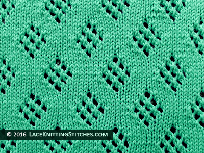Lace Knitting. #21 Diamond Eyelet Stitch.