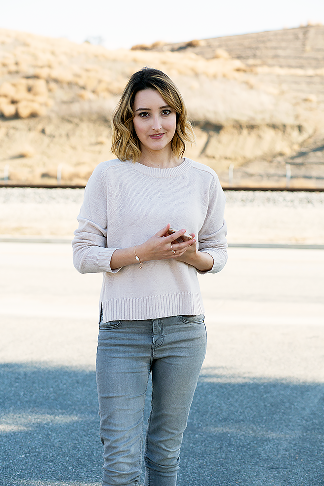 Pink sweater and grey jeans combo from H&M with A Good Hue