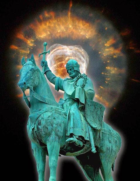 Estátua de São Luís na basílica de Montmartre, Paris Fundo Eskimo Nebula, NGC 2392, Hubble Space Telescope