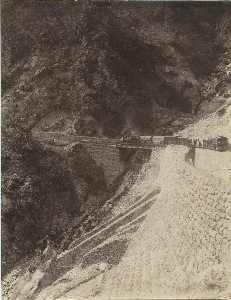 A Train in Upper Paglajhora in Darjeeling -  India c1880s