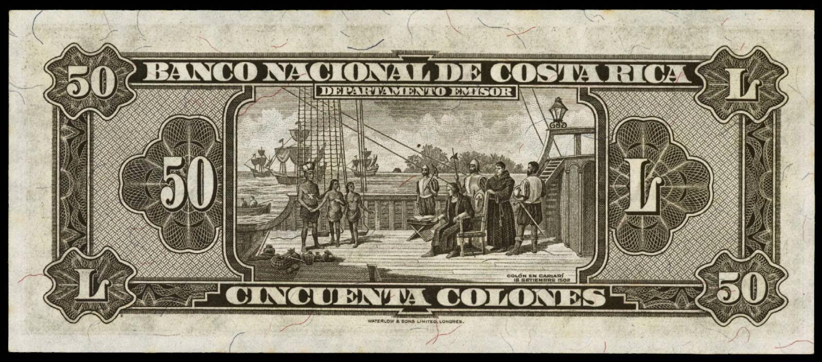 Costa Rica banknotes 50 Colones 1942 Christopher Columbus at Cariari 1502