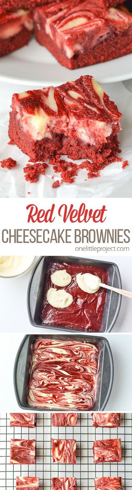 Hi there! It's Kelly from Typically Simple and I am back with a seriously yummy treat recipe! If only computers had scratch and sniff abilities because the delicious, chocolately smell of these red velvet cheesecake brownies baking in the oven would make your mouth water. But since they are so easy to make, you can just whip up a batch in your own kitchen!