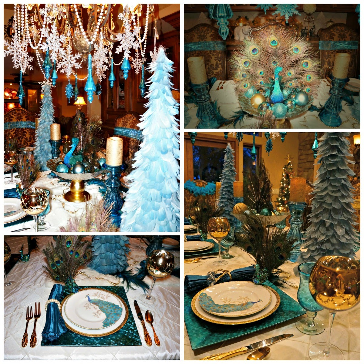 Aqua and gold tablescape