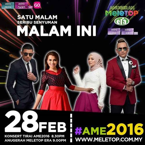 Pemenang Anugerah Meletop Era 2016 (AME2016), keputusan penuh, result, winner, keputusan rasmi pemenang Anugerah Meletop Era 2016 (AME2016), gambar Anugerah Meletop Era 2016, foto ame2016