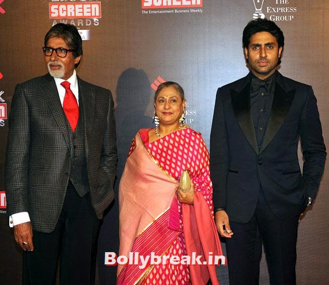 Amitabh, Jaya and Abhishek Bachchan, Life Ok Screen Awards 2014 Red Carpet Photos