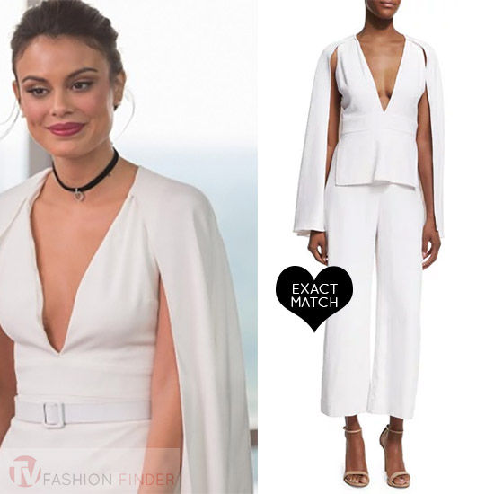 68d26fb20941 Cristal Flores in white caped jumpsuit worn on Dynasty season 1 episode 5  tv fashion cushnie