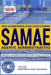 Apostila SAMAE Blumenau 2018 (Agente Administrativo)