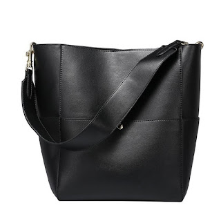 Black Genuine Leather Shoulder Bucket
