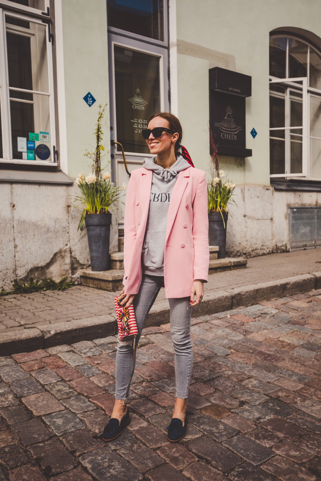 pink blazer spring outfit