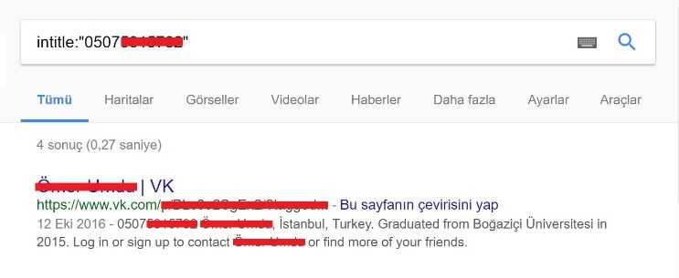 Telefon numarasindan adres bulmak daha kolay, çünkü Google numara hakkındaki tüm bilgileri veriyor.