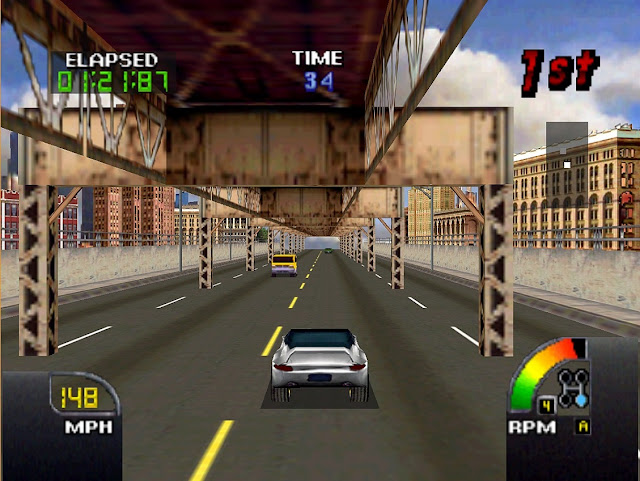 The player drives his car underneath a bridge in a city.
