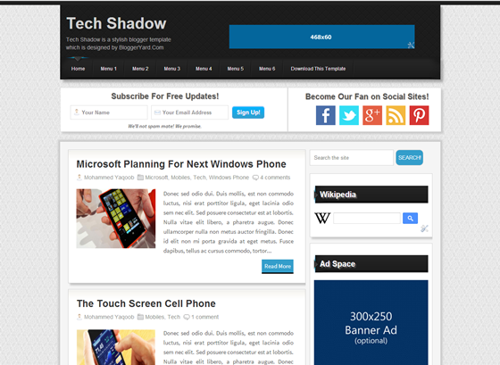 tech shadow Top best premium blogger templates free