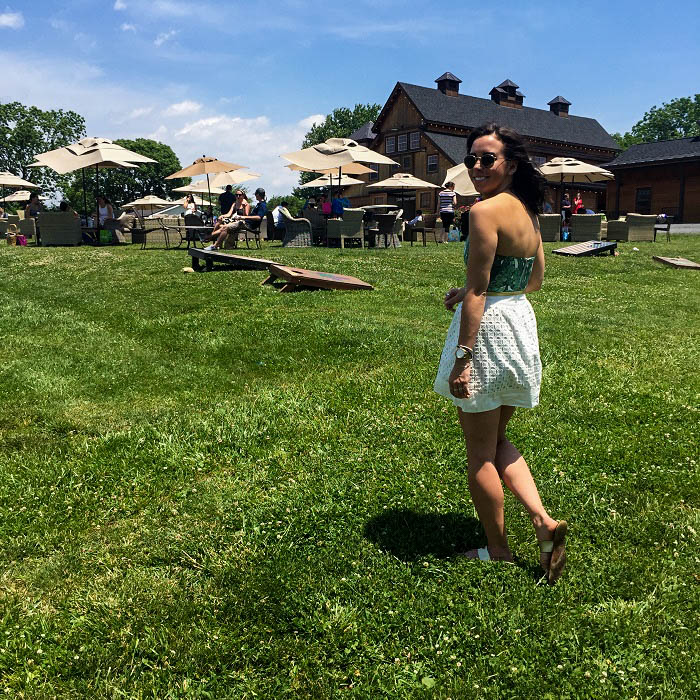 what to wear to a winery. | A.Viza Style | loft skirt. - palm print romper - Stone Tower Winery Leesburg, VA