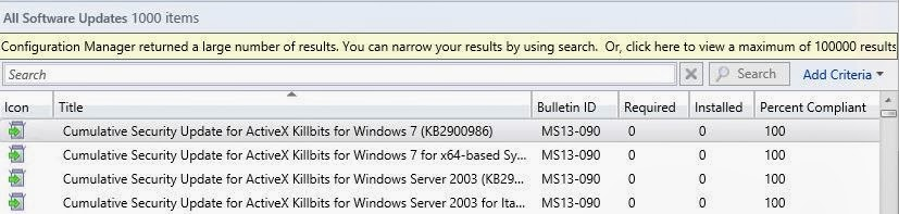Software Updates Search in SCCM 2012 | NETvNext Blog
