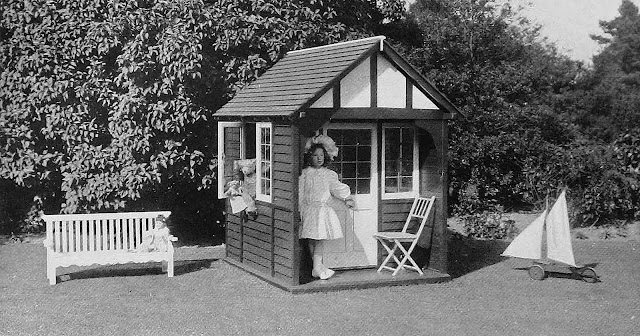 a 1905 child's playhouse photograph, odd child