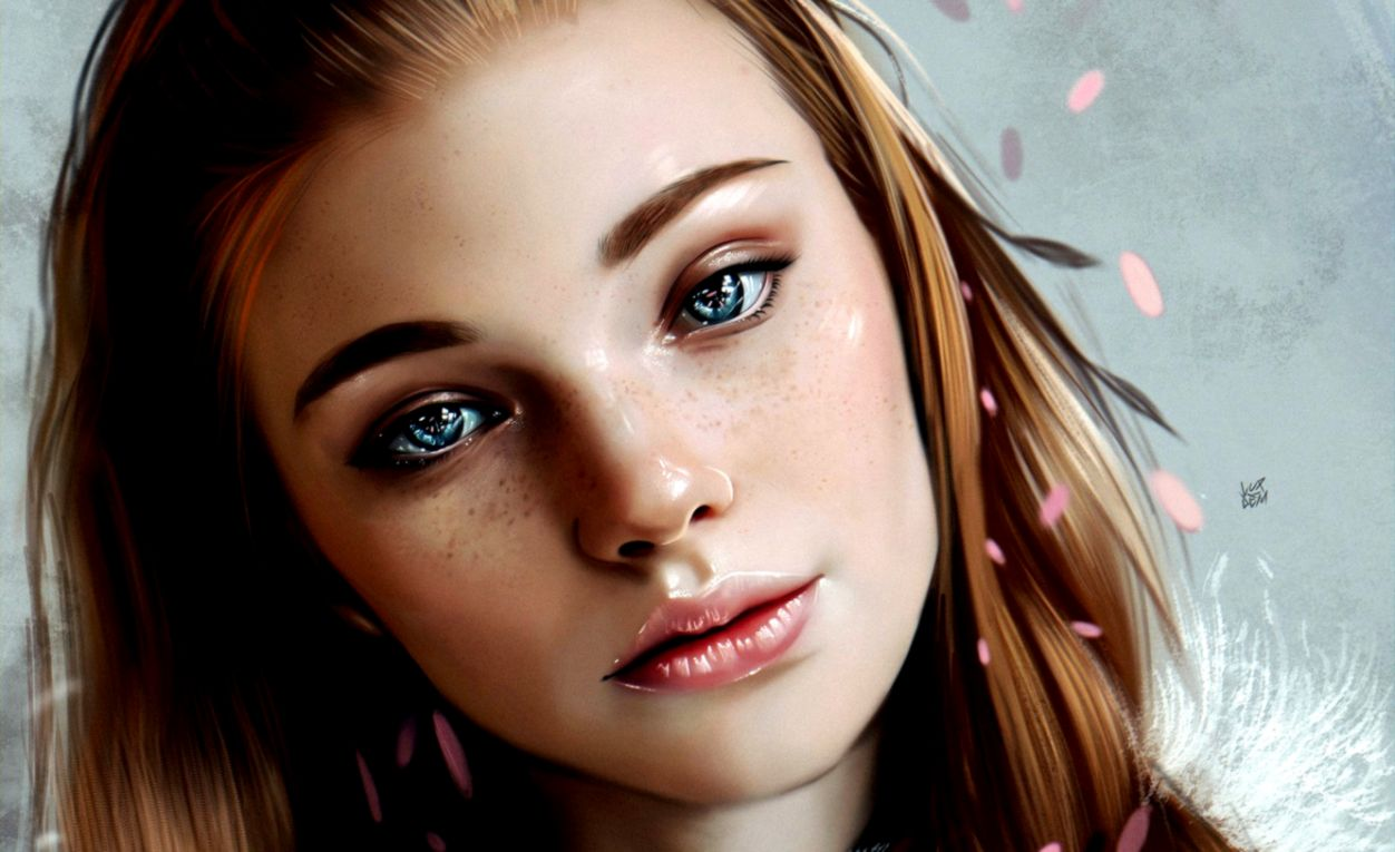 Wallpaper Girl art blue eyes lips face redhead digital art