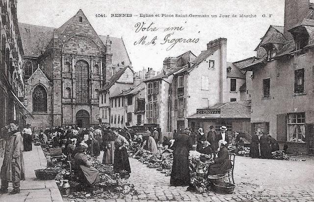 Photo du marché de la Place Saint-Germain au début du XIXe siècle - Sur Wiki-Rennes par Vesy