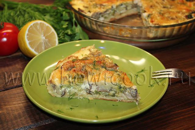 рецепт лоранского пирога с курицей, грибами и брокколи