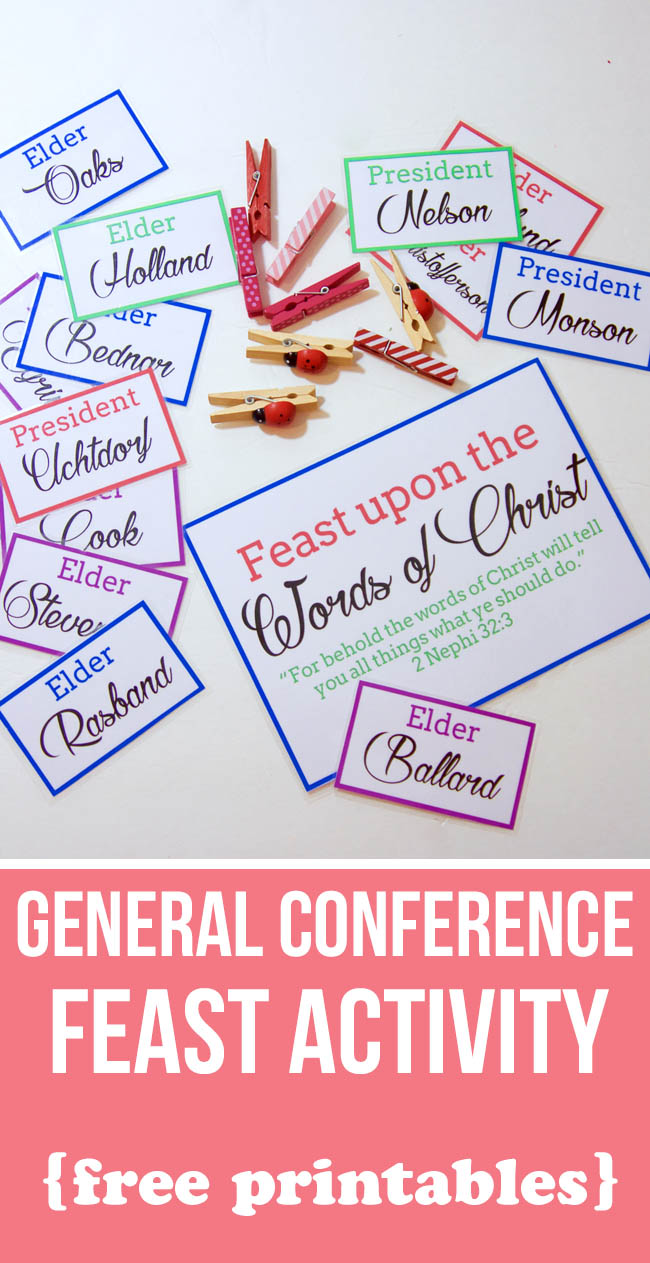 Start a new tradition this General Conference. Download the free printables and use food to inspire your kids to pay attention to who is speaking this General Conference.