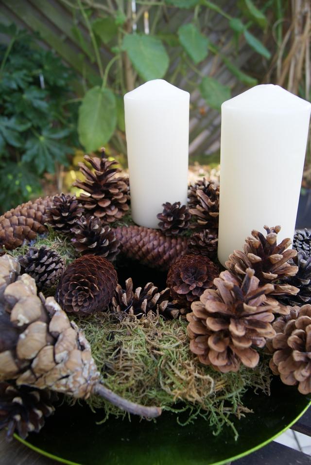 Filz und garten gartenblog diy adventskranz aus zapfen for Dekoelemente garten