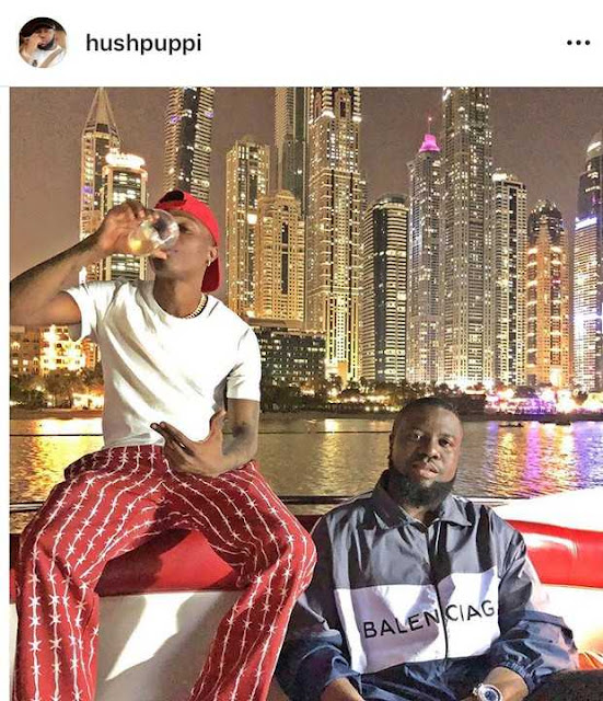 Billionaire Masters, Hushpuppi Hangs Out With Wizkid In Dubai
