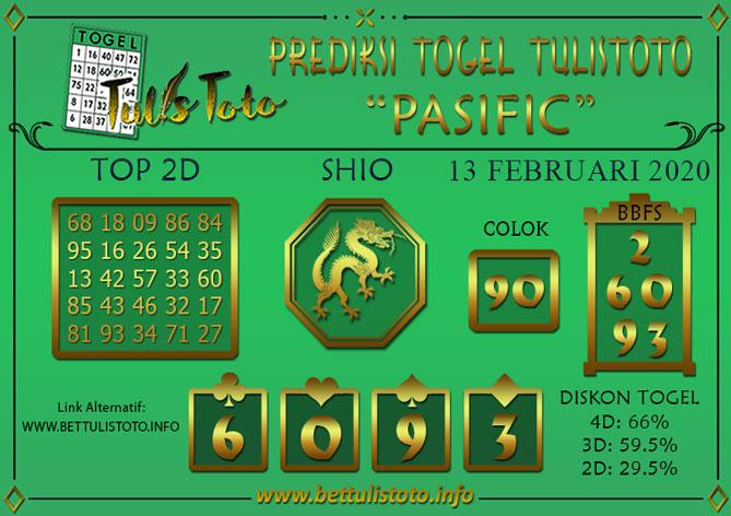 Prediksi Togel PASIFIC TULISTOTO 13 FEBRUARI 2020