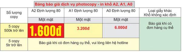 giá photocopy khổ lớn A2, A1, A0