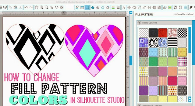 Silhouette Studio, change colors, fill pattern, Silhouette tutorial