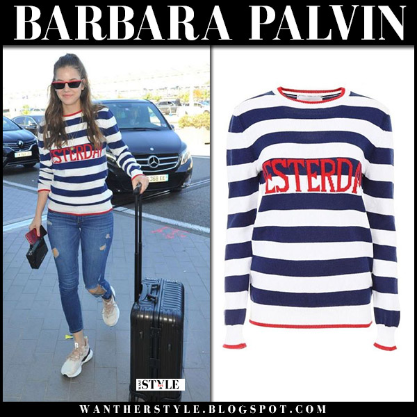 Barbara Palvin in striped navy sweater alberta ferretti model style may 18